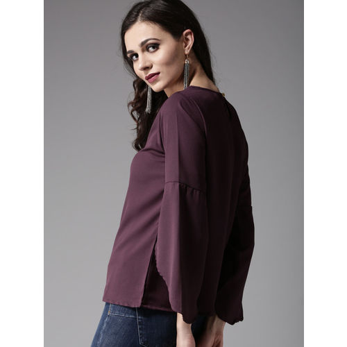 Moda Rapido Women Aubergine Solid A-Line Top