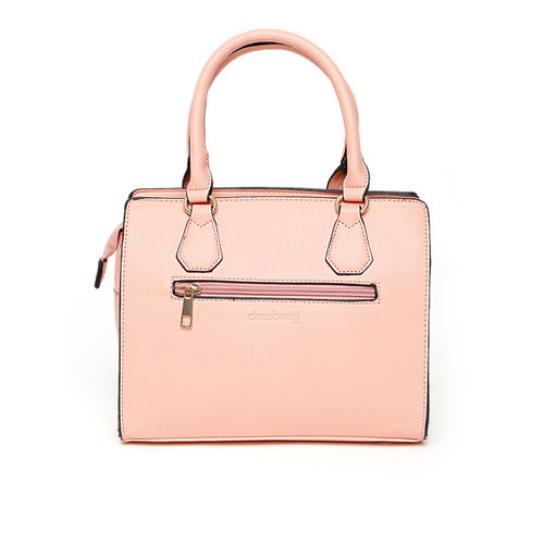 DressBerry Pink Solid Handheld Bag with Detachable Sling Strap