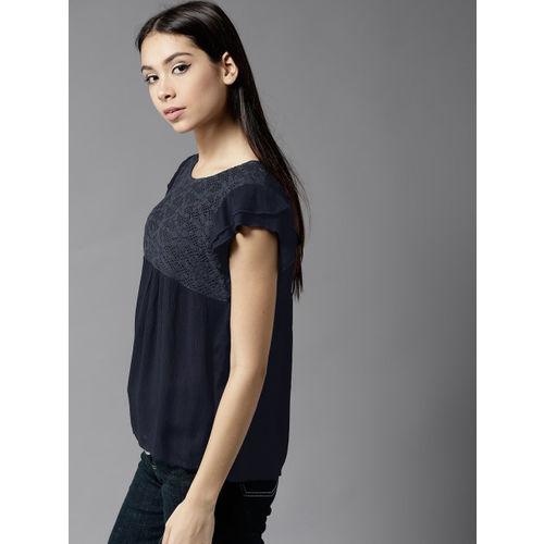 Moda Rapido Women Black Lace Solid Top