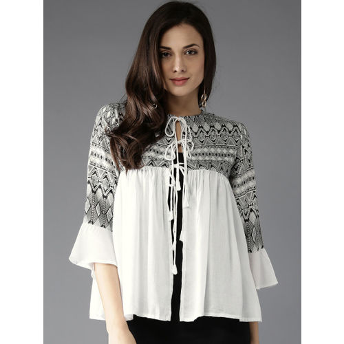 Moda Rapido Women White Printed A-Line Top