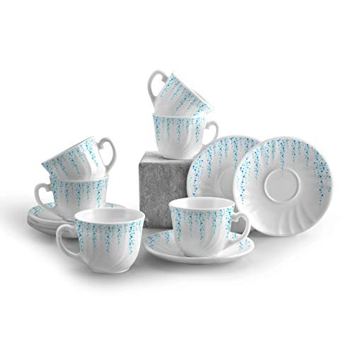 Cello Imperial Opalware Bella Cup 160 ML and Saucer Set, 12-Pieces, White/Sky Fall