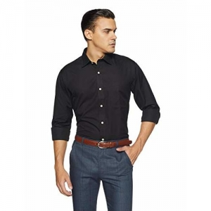 Arrow Men's Solid Regular Fit Cotton Shirt (ARES0770_XX-L_Black)