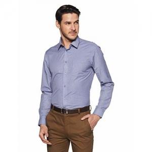 Arrow New York Arrow Newyork Men's Quilted Slim Fit Formal Shirt (ANWSH5018_Blue_42)