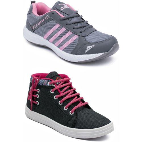 Asian Grey::Black Casual Shoes,Running Shoe,Walking Shoes,Loafres,Sneakers,Training Shoes. Running Shoes For Women(Grey, Black)