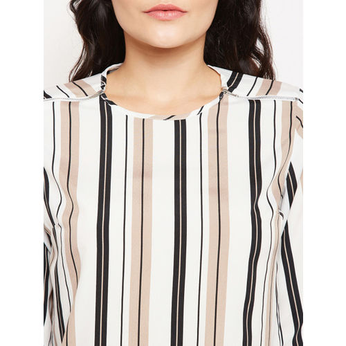 Oxolloxo Women White & Black Striped Top