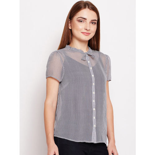 9e40add04 Buy Oxolloxo Women Black Striped Shirt Style Top online | Looksgud.in