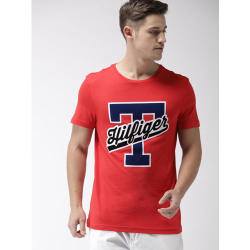 Tommy Hilfiger Men Red Printed Round Neck T-shirt