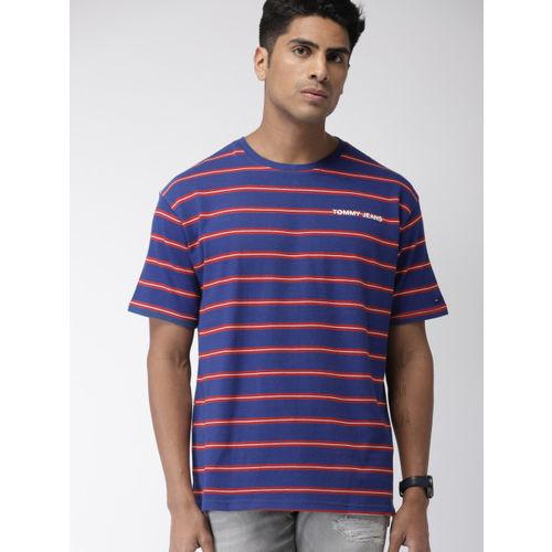 Tommy Hilfiger Men Blue & Red Striped Round Neck T-shirt