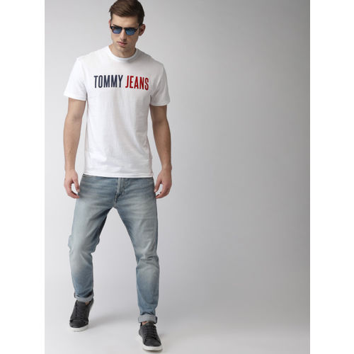 Tommy Hilfiger Men White Printed Round Neck T-shirt