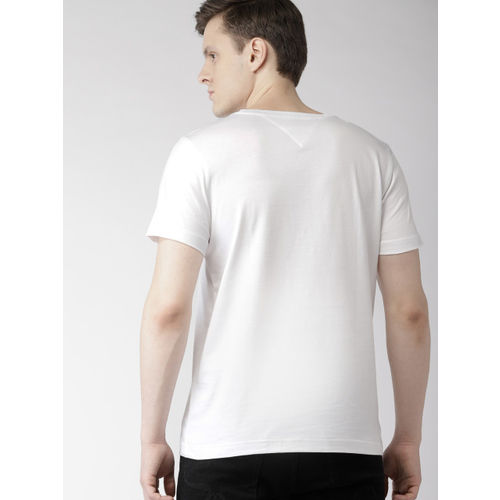Tommy Hilfiger Men White Solid Round Neck T-shirt