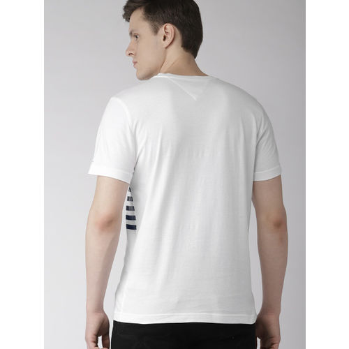 Tommy Hilfiger Men White Striped Round Neck T-shirt