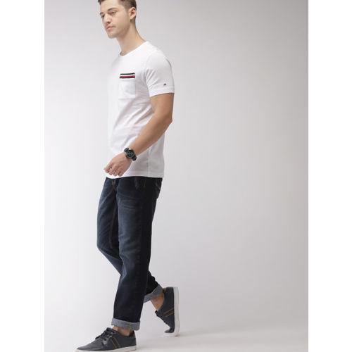 Tommy Hilfiger Men White Solid Round Neck T-shirt
