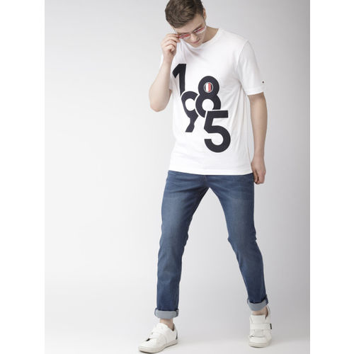 Tommy Hilfiger Men White Printed Round Neck T-shirt
