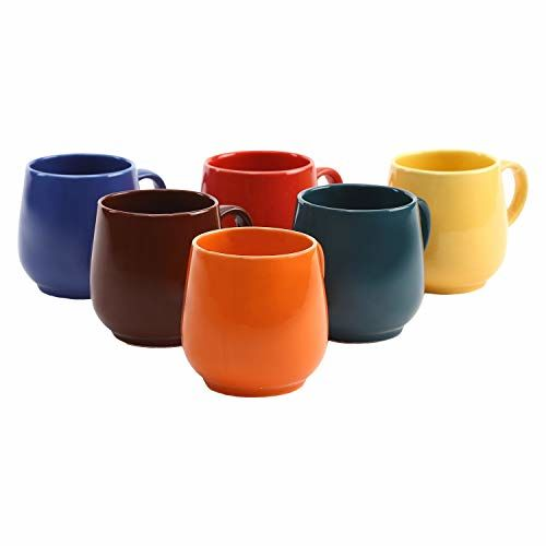 Kittens Multi Color Oval Ceramic Tea Cups / Coffee Mugs - Set Of 6