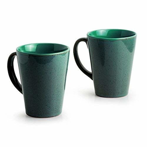 ExclusiveLane 'Blues Of Sky' Studio Pottery Glazed Coffee Mugs In Ceramic (Set Of 2) -Cups Tea Cups Coffee Mugs Serving Pieces Tea Cup Sets Ceramic Cups Tea Set