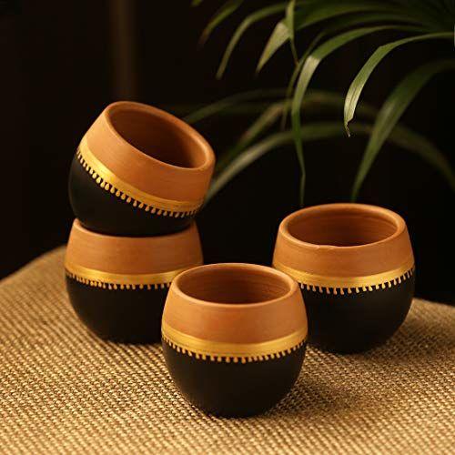ExclusiveLane Hand-Painted 'Terra-Sips' Kullads in Earthen Terracotta (Set of 4) - Kulhad Tea Cups Tea Sets Coffee Cups Mugs Cutting Chai Tea Glasses