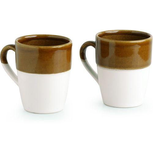 ExclusiveLane The 'Old Fashioned' Hand Glazed Studio Pottery Ceramic Coffee & Tea Mugs (Set of 2) - Cups Tea Cups Coffee Mugs Tea Cup Sets Ceramic Cups Kulhad