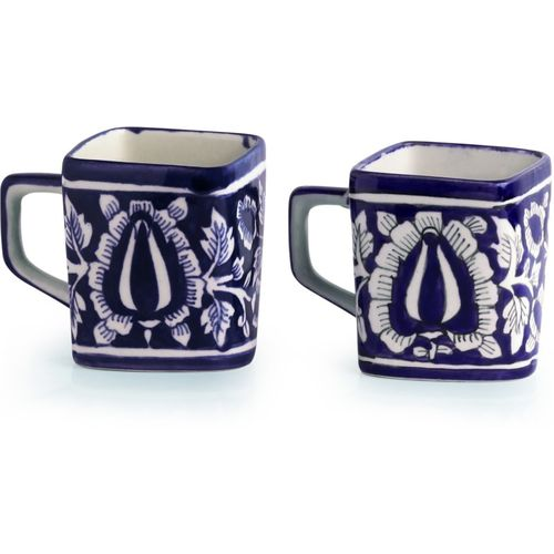 ExclusiveLane The 'Royal Goblets' Mughal Hand-Painted Ink Blue Ceramic Tea & Coffee Mugs (Set Of 2)- Cups Tea Cups Coffee Mugs Tea Cup Sets Ceramic Cups Kulhad
