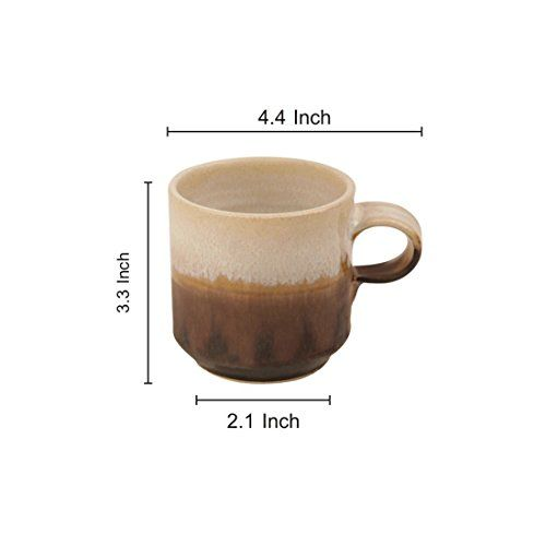 ExclusiveLane Handcrafted Studio Pottery Ceramic Cup Set in Coffee Brown & Beige -