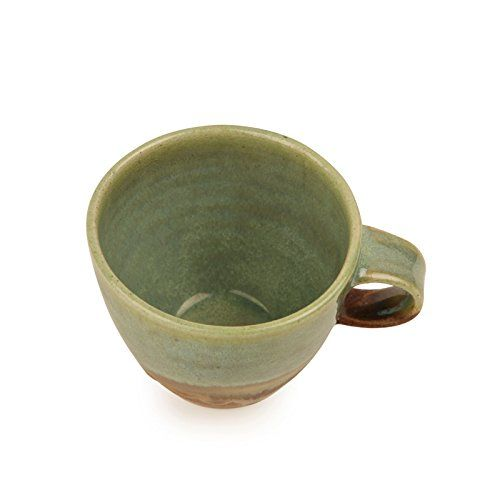 ExclusiveLane Studio Pottery Glazed Ceramic Cup & Saucer Set in Emerald Green