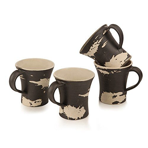 ExclusiveLane Handcrafted Studio Pottery Ceramic Cups Set in Dark Brown & Off-White - Tea Cups Coffee Mugs Set of Cups