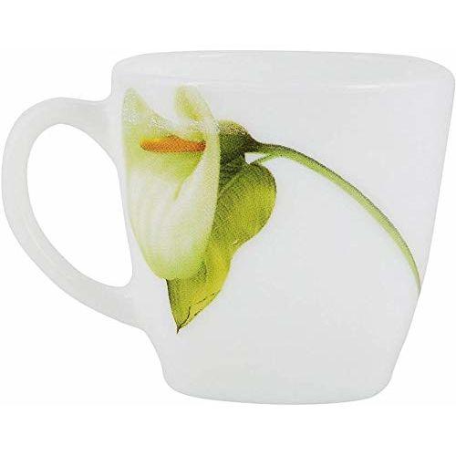 LaOpala Quadra Ivory Blush Tea & Coffee Mugs/Cups 125 ML, Set of 6, (White)