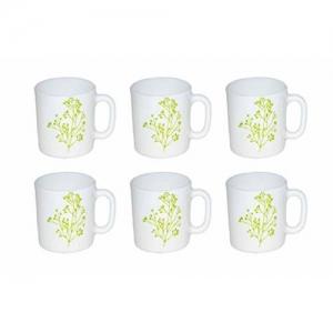 LaOpala Blissful Greens Tea & Coffee Mugs 150 ML, Set of 6, (White)