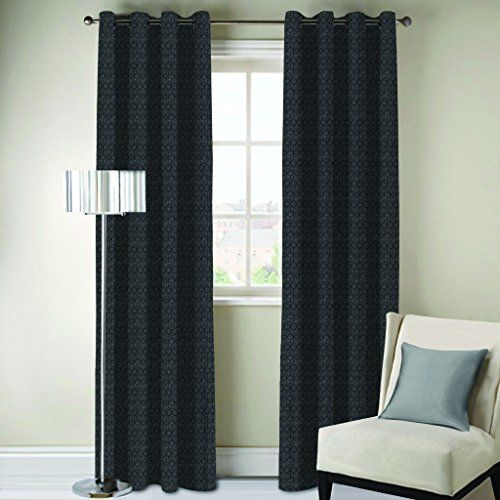 DDECOR Live beautiful D'Decor 1 Piece Polyester Eyelet Door Curtain - 7 Feet, Black