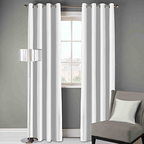 DDECOR Live beautiful D'Decor 1 Piece Polyester Eyelet Door Curtain - 7 Feet, White