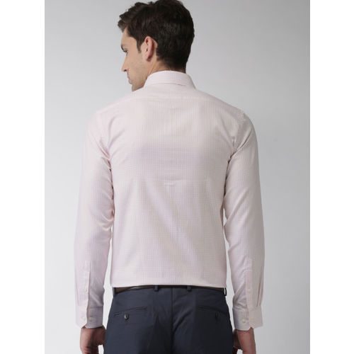 Arrow Men White & Pink Slim Fit Checked Formal Shirt