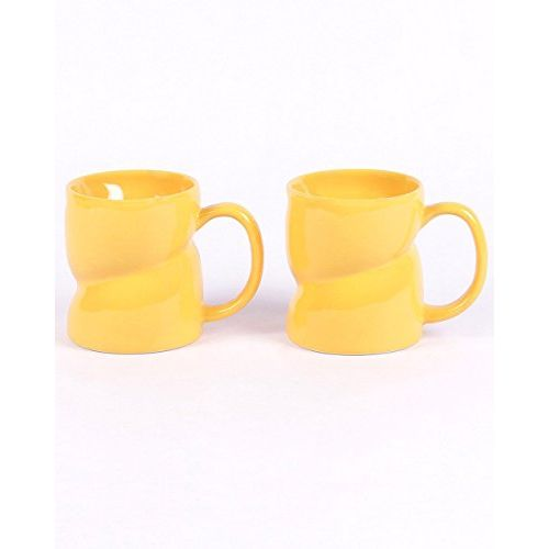 VarEesha Ceramic Mug Set, 2-Pieces, Yellow