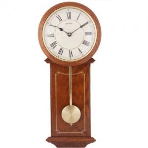 Seiko Analog 52.5 cm X 21.5 cm Wall Clock(Brown, With Glass)