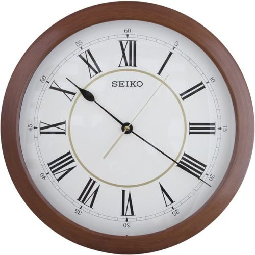 Seiko Analog 41 cm X 41 cm Wall Clock(Brown, With Glass)