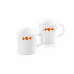 Cello white Ceramic Polka Drops Opalware Sisely Mug Set, 2-Pieces, 270ml