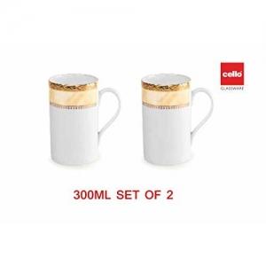 Cello Fine Porcelain Regal Tea/Coffee Mug 300ML, Set of 2. (Cream Gold)
