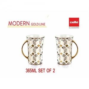 Cello Fine Porcelain Modern Tea/Coffee Cup 265ML, Set of 2. (Diamond)
