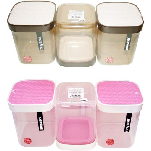 Nayasa fusion beige pink - 1000 ml Polypropylene Grocery Container, Fridge Container, Oil Container, Utility Box, Tea Coffee & Sugar Container, Spice Container,
