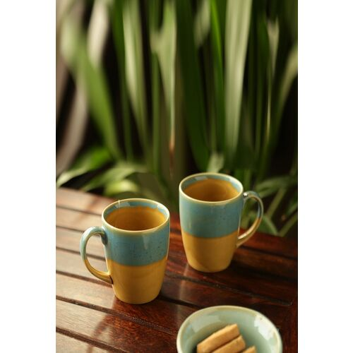 ExclusiveLane River Rims' Studio Pottery Glazed Coffee Ceramic Mug(330 ml, Pack of 2)