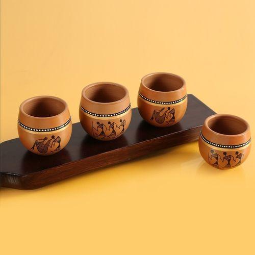 ExclusiveLane Warli Hand-Painted Kulladhs Cum Pottery Mug(220 ml, Pack of 4)
