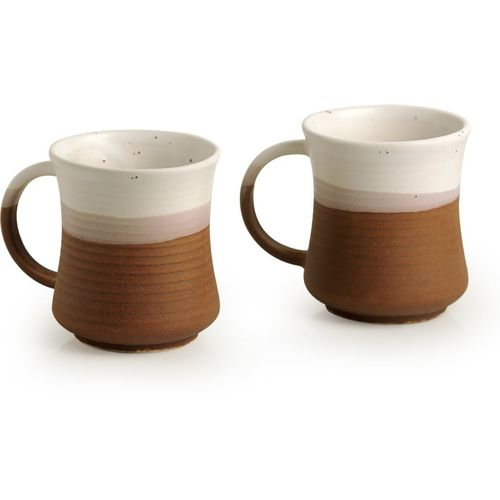 ExclusiveLane 'Vanilla Rims' Studio Pottery Coffee Cum Chai Cup Set Serving Tea Set, (Set of 2) 290 ML Ceramic Mug(290 ml, Pack of 2)