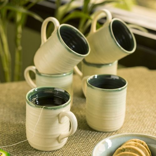 ExclusiveLane Jade Translucence' Studio Pottery Glazed Tea & Coffee Ceramic Mug(190 ml, Pack of 6)