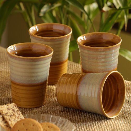 ExclusiveLane Dual Glazed Studio Pottery Tea Cups Milk Glass Ceramic Mug(280 ml, Pack of 4)