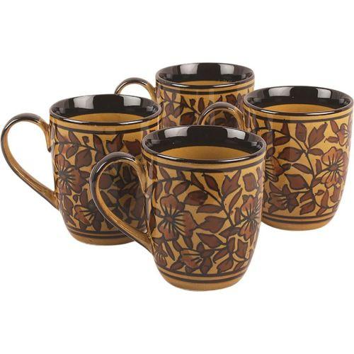VarEesha Hand Painted Brownhal Ceramic Tea/ Coffees Set Ceramic Mug(120 ml, Pack of 4)