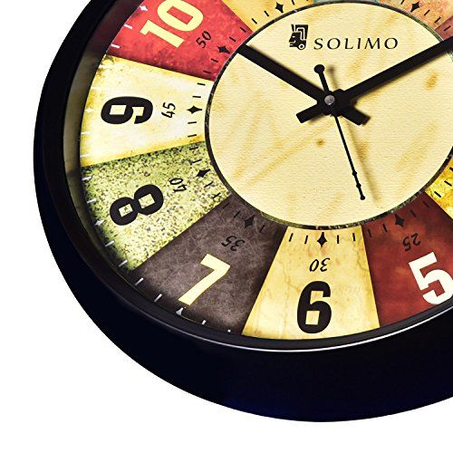 Solimo 12-inch Wall Clock - Classic Roulette (Silent Movement, Black Frame)