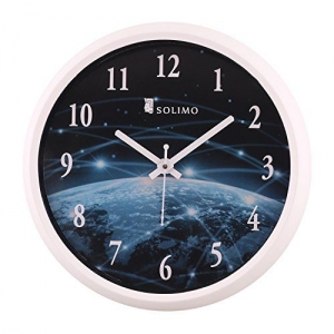 Solimo 12-inch Wall Clock - Galaxy (Step Movement, White Frame)