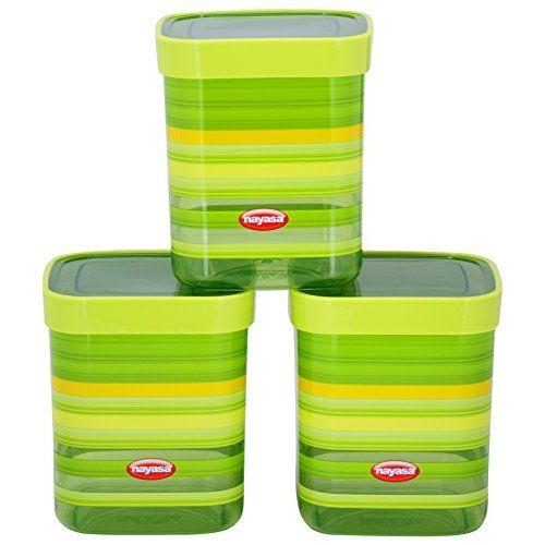 Nayasa Superplast Fusion DLX Plastic Container Set, 1 Litre, Set of 3, Green