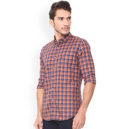 Allen Solly Men Blue & Pink Slim Fit Checked Casual Shirt