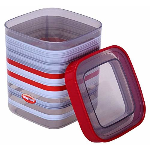 Nayasa Superplast Fusion Deluxe Air Tight Containers 1500 ml, Set of 3, Red