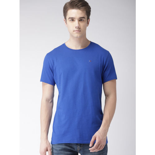 Tommy Hilfiger Men Blue Solid Round Neck T-shirt