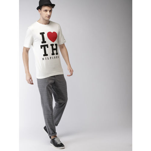 Tommy Hilfiger Men White Printed T-shirt